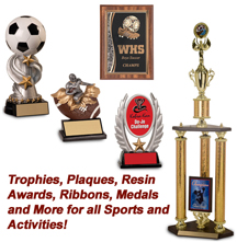 TROPHIES, PLAQUES, AWARDS, RIBBONS, MEDALS & MORE